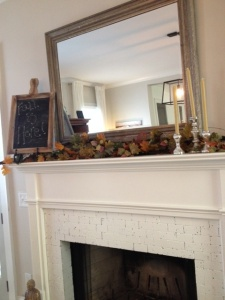 fall decor mantel